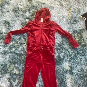 Girls red jogging suit